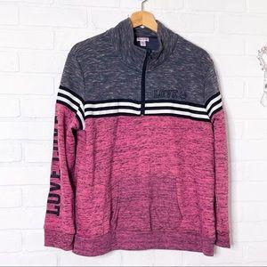 Flirtitude Active Pullover Sweatshirt Pink Gray